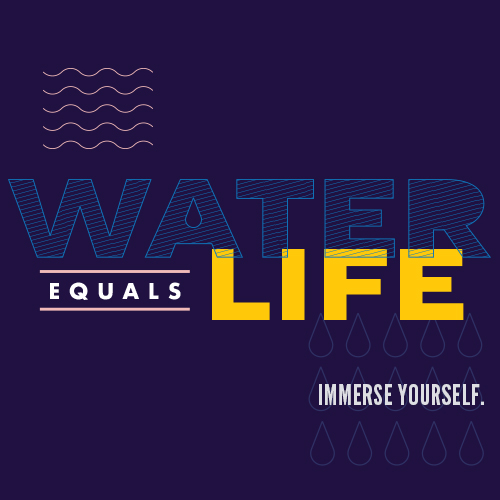 Water equals life logo